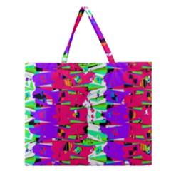 Colorful Glitch Pattern Design Zipper Large Tote Bag
