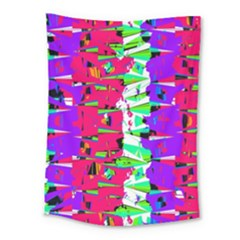 Colorful Glitch Pattern Design Medium Tapestry