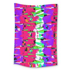 Colorful Glitch Pattern Design Large Tapestry