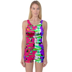 Colorful Glitch Pattern Design One Piece Boyleg Swimsuit