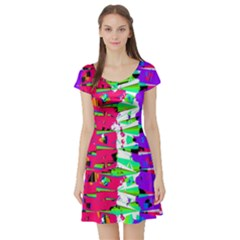 Colorful Glitch Pattern Design Short Sleeve Skater Dress