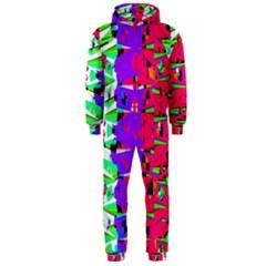 Colorful Glitch Pattern Design Hooded Jumpsuit (Men)