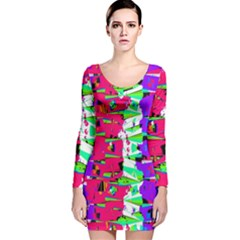 Colorful Glitch Pattern Design Long Sleeve Velvet Bodycon Dress