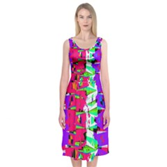 Colorful Glitch Pattern Design Midi Sleeveless Dress
