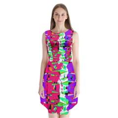 Colorful Glitch Pattern Design Sleeveless Chiffon Dress