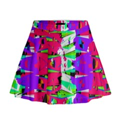 Colorful Glitch Pattern Design Mini Flare Skirt