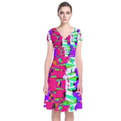 Colorful Glitch Pattern Design Short Sleeve Front Wrap Dress