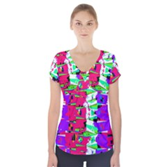 Colorful Glitch Pattern Design Short Sleeve Front Detail Top