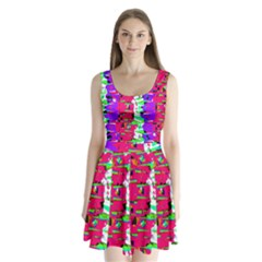 Colorful Glitch Pattern Design Split Back Mini Dress