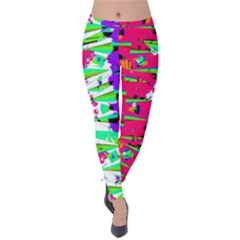 Colorful Glitch Pattern Design Velvet Leggings