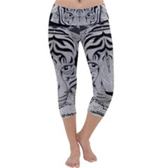 Tiger Head Capri Yoga Leggings