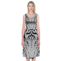 Tiger Head Midi Sleeveless Dress