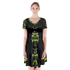 Beetles Insects Bugs Short Sleeve V-neck Flare Dress