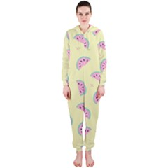 Watermelon Wallpapers  Creative Illustration And Patterns Hooded Jumpsuit (Ladies)