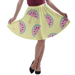 Watermelon Wallpapers  Creative Illustration And Patterns A-line Skater Skirt