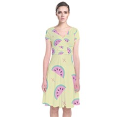 Watermelon Wallpapers  Creative Illustration And Patterns Short Sleeve Front Wrap Dress