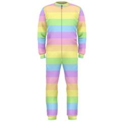 Cute Pastel Rainbow Stripes OnePiece Jumpsuit (Men)