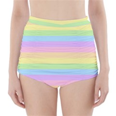 Cute Pastel Rainbow Stripes High-Waisted Bikini Bottoms