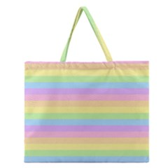 Cute Pastel Rainbow Stripes Zipper Large Tote Bag