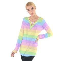 Cute Pastel Rainbow Stripes Women s Tie Up Tee