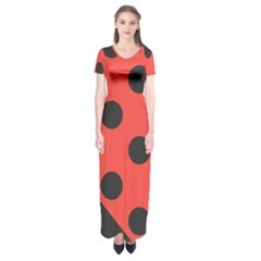 Abstract Bug Cubism Flat Insect Short Sleeve Maxi Dress