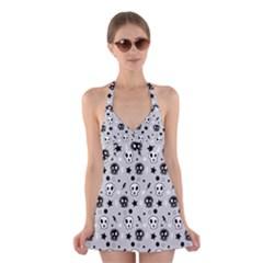 Skull Pattern Halter Swimsuit Dress