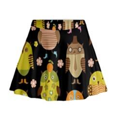 Cute Owls Pattern Mini Flare Skirt