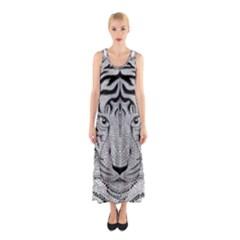Tiger Head Sleeveless Maxi Dress
