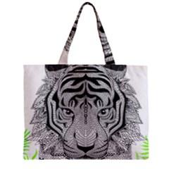 Tiger Head Zipper Mini Tote Bag