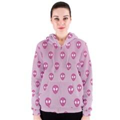 Alien Pattern Pink Women s Zipper Hoodie