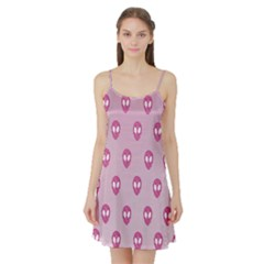 Alien Pattern Pink Satin Night Slip