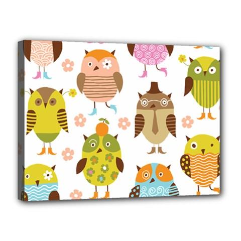 Cute Owls Pattern Canvas 16  x 12