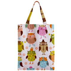 Cute Owls Pattern Zipper Classic Tote Bag