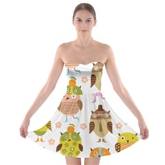 Cute Owls Pattern Strapless Bra Top Dress