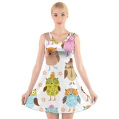 Cute Owls Pattern V-Neck Sleeveless Skater Dress