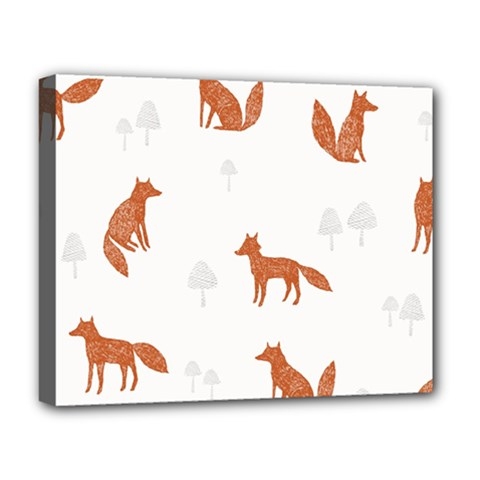 Fox Animal Wild Pattern Deluxe Canvas 20  x 16