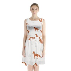 Fox Animal Wild Pattern Sleeveless Chiffon Waist Tie Dress