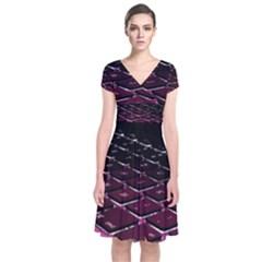 Computer Keyboard Short Sleeve Front Wrap Dress