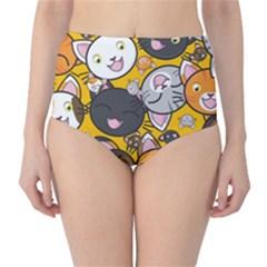 Cats Cute Kitty Kitties Kitten High-Waist Bikini Bottoms