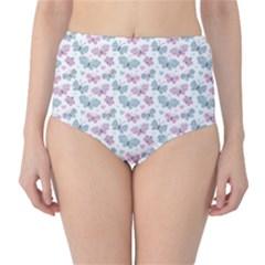 Cute Pastel Butterflies High-Waist Bikini Bottoms