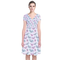 Cute Pastel Butterflies Short Sleeve Front Wrap Dress
