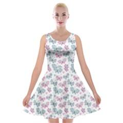 Cute Pastel Butterflies Velvet Skater Dress