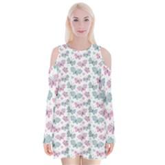 Cute Pastel Butterflies Velvet Long Sleeve Shoulder Cutout Dress