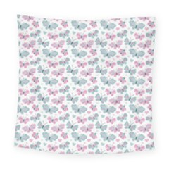 Cute Pastel Butterflies Square Tapestry (large)