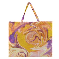 Yellow Marble Zipper Large Tote Bag