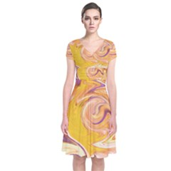 Yellow Marble Short Sleeve Front Wrap Dress