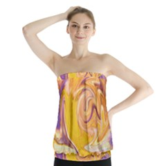 Yellow Marble Strapless Top