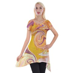 Yellow Marble Short Sleeve Side Drop Tunic