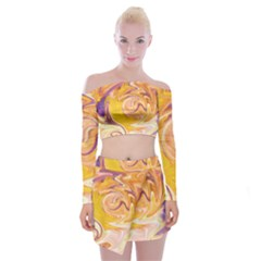 Yellow Marble Off Shoulder Top With Skirt Set
