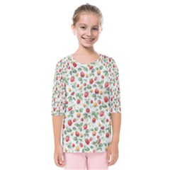 Strawberry Pattern Kids  Quarter Sleeve Raglan Tee